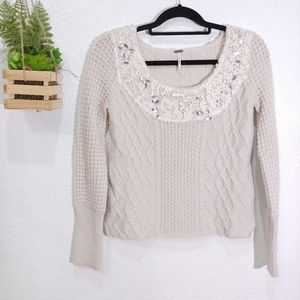 Free People cable knit lace beaded neckline Size S